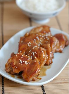 Teriyaki Chicken - chicken, sake, soy sauce, sugar, oil. #chicken #entrée