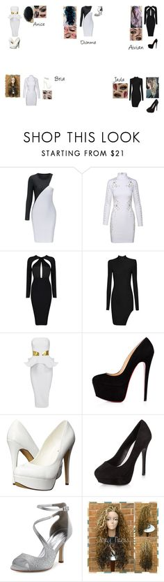 """Guardian Angels attending to the VMAs"" by the-guardian-angels on Polyvore featuring Christian Louboutin, Michael Antonio, New Look, blackandwhite and VMAs"