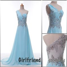 Each of our dress are made to order by hand    Dress code:G0200      Fabric: Chiffon  Embellishment:Beading, sequins  Straps: Strapless  Sleeves:Sleeveless  Silhouette: A-Line  Hemline: Floor-length  Fashion: Prom dress  Color: see picture  Size: 2,4,6,8,10,12, Custom-made    Each of dress may ta...