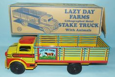 VINTAGE MARX LAZY DAY FARMS TIN LITHO TOY STAKE TRUCK & RARE BOX