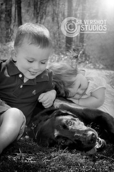 boy, girl, dog, black lab, brother, sister, black and white