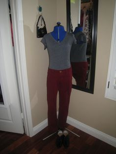 red jeans, gray shirt, Joe's jeans, black oxfords, black mini purse, Dooney and Bourke, Juicy Couture, charm bracelet, heart necklace, silver studs, outfit