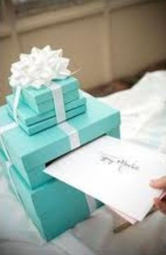 maybe not a tiffany themed shower but cute to use just as a card boxmy tiffany themed bridal shower card box