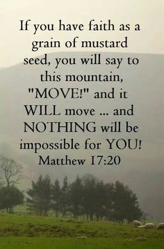 Bible Verses to Live By:If you have faith as a gain of a mustard seed, you will say to this mountain, move and it will move . and nothing will be impossible for you! Bible Verses Quotes, Bible Scriptures, Faith Quotes, Strength Scriptures, Bible Quotes About Faith, Faith Bible, Motivation Positive, Jesus Christus, A Course In Miracles