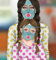 and baby anime (notitle) Mother And Daughter Drawing, Mother Art, Best Friend Drawings, Girly Drawings, Sarra Art, Girly M, Images Disney, Cute Couple Art, Cute Girl Drawing