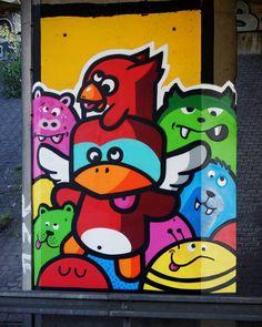 N2043. Bron  #birdykids #streetart #streetartlyon #color #colorful #lyon #wearelyon #cute #art by birdykids