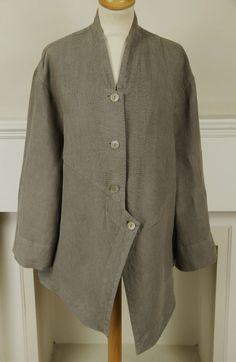 Love this asymmetric jacket - Oska asymetric front opening & hem nehru linen jacket