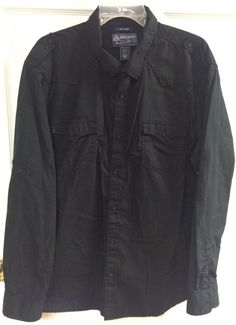 American Rag CIE Mens Solid Black Button Up Casual Shirt Sz XXL 2XL Long Sleeve #AmericanRagCie #ButtonFront