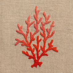 Coral Knot RedHand Towel - Natural Linen
