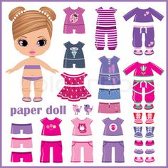 Paper doll with clothes set   Vector   Colourbox