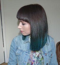 Dip dye turquoise hair