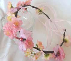 Pink cherry blossom head wreath bridal by ChurchMouseCreations, $25.00