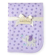 "Koala Baby Interlock Blanket - Purple Floral Print with Elephant - Babies R Us - Babies ""R"" Us"