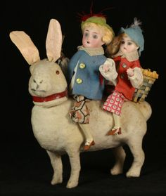 Antique German Easter Rabbit Candy Container with Riders C 1910