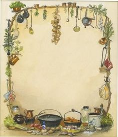 Book of Shadows: BOS blank page, by Tasha Tudor. Perfect for a kitchen Witch Creation Art, Kitchen Witchery, Page Borders, Blank Page, Book Of Shadows, Recipe Cards, Book Illustration, Magick, Witchcraft