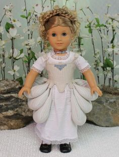 """From dolloutfits.com, this is from MHD's newest offering, """"A La Francais"""", sized for American Girl dolls.  I understand she will be releasing a pattern for the undergarments.  Love the panniers!"""