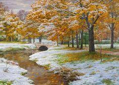 """Брусилов Станислав """"Первый снег"""". """"Я с детства испытываю своеобразное волнение перед свежим покровом снега… Точно вступаешь в какой-то новый мир, и всего тебя пронизывает радость открытия, первого соприкосновения с чем-то чистым, нетронутым, неоскверненным.""""  Джон Стейнбек"""