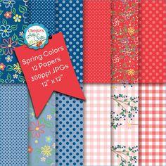 Flowers and Dots Digital Backgrounds | Gingham Checks Digital Papers | Digital Scrapbooking Papers | Printables | Digital Backgrounds | Art