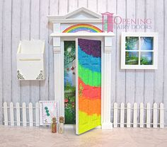 Rainbow Glitter Opening Fairy Door Set Australian Made Opening Fairy Doors, Fairy Door Accessories, Door Sets, Toad, Beautiful Hands, Gnomes, Glitter, Rainbow, Fantasy