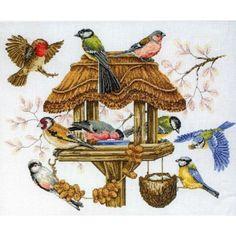 Werkelijk prachtig gedetailleerd borduurwerk van dit vogelhuisje met verschillende soorten vogels.
