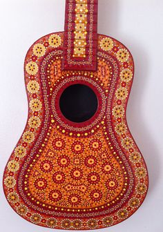 Moroccan Painted Guitar by BeesCuriosityShoppe on Etsy, $265.00