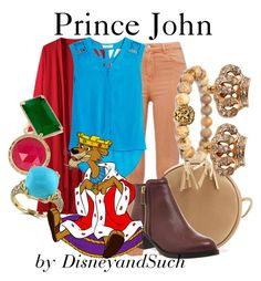 """""""Prince John"""" by disneyandsuch ❤ liked on Polyvore featuring Sandro, Ted Baker, Anne Sisteron, Trina Turk, Effy Jewelry, Juicy Couture, disney, disneybound, robinhood and WhereIsMySuperSuit"""