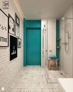 łazienka z turkusowym akcentem - zdjęcie od art inside - studio projektowania wnętrz i ogrodów - Łazienka - Styl Eklektyczny - art inside - studio projektowania wnętrz i ogrodów
