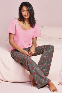 Buy Pink/Grey Heart Print Pyjama online today at Next: Israel