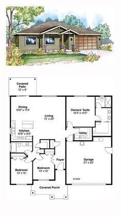 Ranch Style House Plan 59411 with 3 Bed, 2 Bath, 2 Car Garage - Troubled Tutorial and Ideas Ranch House Plans, Dream House Plans, Small House Plans, House Floor Plans, Simple Floor Plans, Contemporary Cottage, Contemporary House Plans, Contemporary Architecture, Garage House