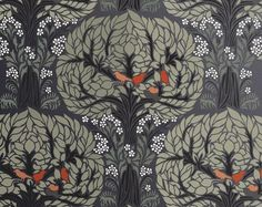 STENCIL for Walls - Art Nouveau TREE Pattern with Birds - Large tree stencil for DIY Home Decor