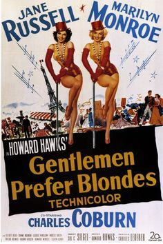 Gentlemen Prefer Blonds (1953) -  Two singers, best friends Lorelei Lee and Dorothy Shaw travel to Paris pursued by a private detective hired by Lorelei's fiancé's disapproving father to keep an eye on her, a rich, enamoured old man and many other doting admirers.