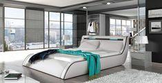 Found it at Wayfair - Peabody Modern European Kingsize Upholstered Platform Bed Leather Platform Bed, Bed Platform, Modern Platform Bed, Upholstered Platform Bed, Bed Frame Design, Bedroom Bed Design, Home Decor Bedroom, Modern Bedroom, Bedroom Ideas