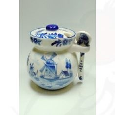 Delft Blue honey pot with spoon