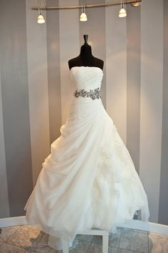 Custom Made Strapless Pleat Wedding Dresses Cascading Ruffles Organza A Line Wedding Dress Brush Train Gown not including sash $210.00