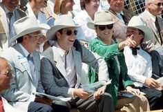 TRH Prince Andrew and Duchess of York watch the rodeo at Medicine Hat, Alberta during their Royal tour of Canada July 1987