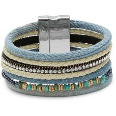 Cara Multi-Row Denim and Stone Accented Bracelet (6.990 HUF) ❤ liked on Polyvore featuring jewelry, bracelets, denim, denim jewelry, stone bangles, stone jewellery, beading jewelry and stone jewelry