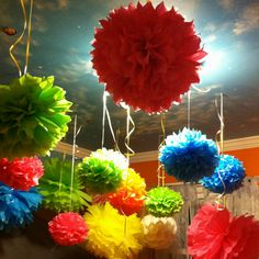 Pompoms for a Dora the explorer party