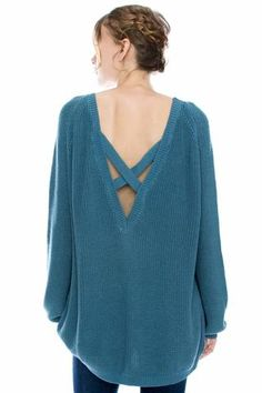 Our Samantha sweater has the cutest criss cross back!