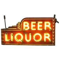 """Rare Art Deco Double Sided Yellow Neon Sign """" Beer Liquor """" 