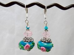 Turquoise and Pink Lampwork Beaded Earrings Ring by thepinkmartini, $20.00