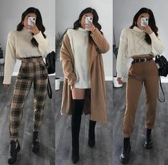 Stylish Winter Outfits, Winter Fashion Outfits, Cute Casual Outfits, Fall Outfits, Plaid Outfits, Stylish Girl, Mode Inspiration, Retro Outfits, Aesthetic Clothes