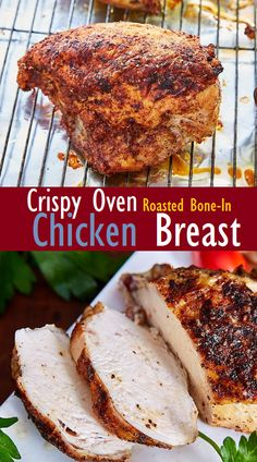 The Best Crispy Oven Roasted Bone-In Chicken Breast - SundayRecipes Baked Bone In Chicken, Crispy Roasted Chicken, Roasted Chicken Breast, How To Cook Chicken, Split Chicken Recipes, Diabetic Chicken Recipes, Baked Chicken Recipes, Easy Recipes, Oven Recipes
