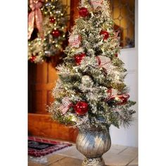 4 ft. Battery Operated Frosted Mercury Potted Artificial Christmas Tree with 50 Clear LED Lights-BOWOTHD182B - The Home Depot
