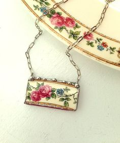 Broken china jewelry necklace antique pink cabbage roses made from a broken plate
