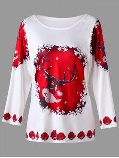 9cb9e5ebd Plus Size Cartoon Deer Print Raglan Sleeve T-shirt Xmas Shirts, Plus Size T