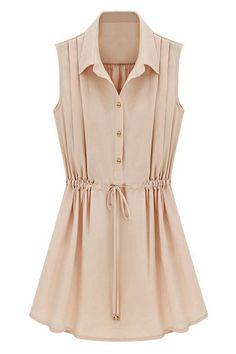 ROMWE | ROMWE Self-tied Drawstring Pleated Slim Pink Dress, The Latest Street Fashion