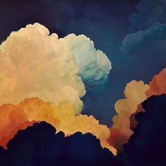 Art by Ian Fisher #maybeokayblog #painting #painter #sky #clouds #heaven #oeange #blue #gradient #shades #delicate #ultrarealism #stunning #contemporaryart #artwork #art