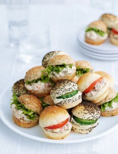20 Bite-Size Cocktail Roll Selection-Marks Spencer - Red Tea Is Best Tea Party Sandwiches, Finger Sandwiches, Tea Sandwich Recipes, Sandwich Buffet, Lunch Buffet, Food Buffet, Sandwich Ideas, Buffet Ideas, High Tea Food