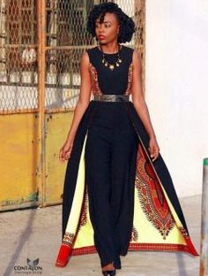 Chic use of African print. African Inspired Fashion, African Print Fashion, Africa Fashion, Fashion Prints, African Attire, African Wear, African Women, African Style, African Print Dresses