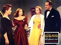 From left to right actors Anne Baxter Bette Davis Marilyn Monroe and George Sanders appear on a poster for the Century Fox film 'All About Eve'. Marilyn Monroe, Bette Davis, Celeste Holm, Anne Baxter, All About Eve, Star Wars, Lily James, Gillian Anderson, Joan Crawford